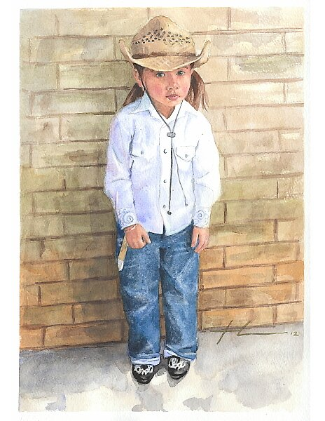 Reluctant cowgirl watercolor by Mike Theuer