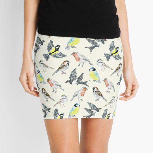 Illustrated Birds Mini Skirt