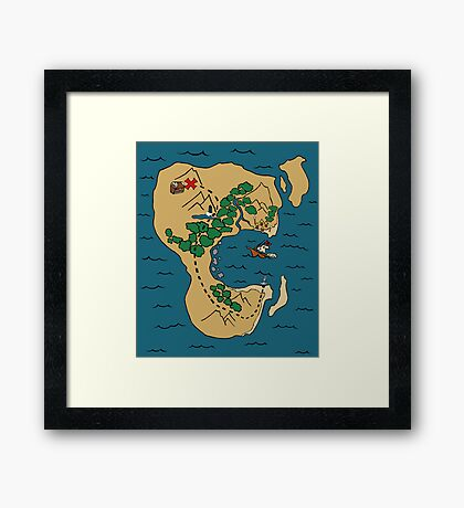 Pirate Map Framed Print