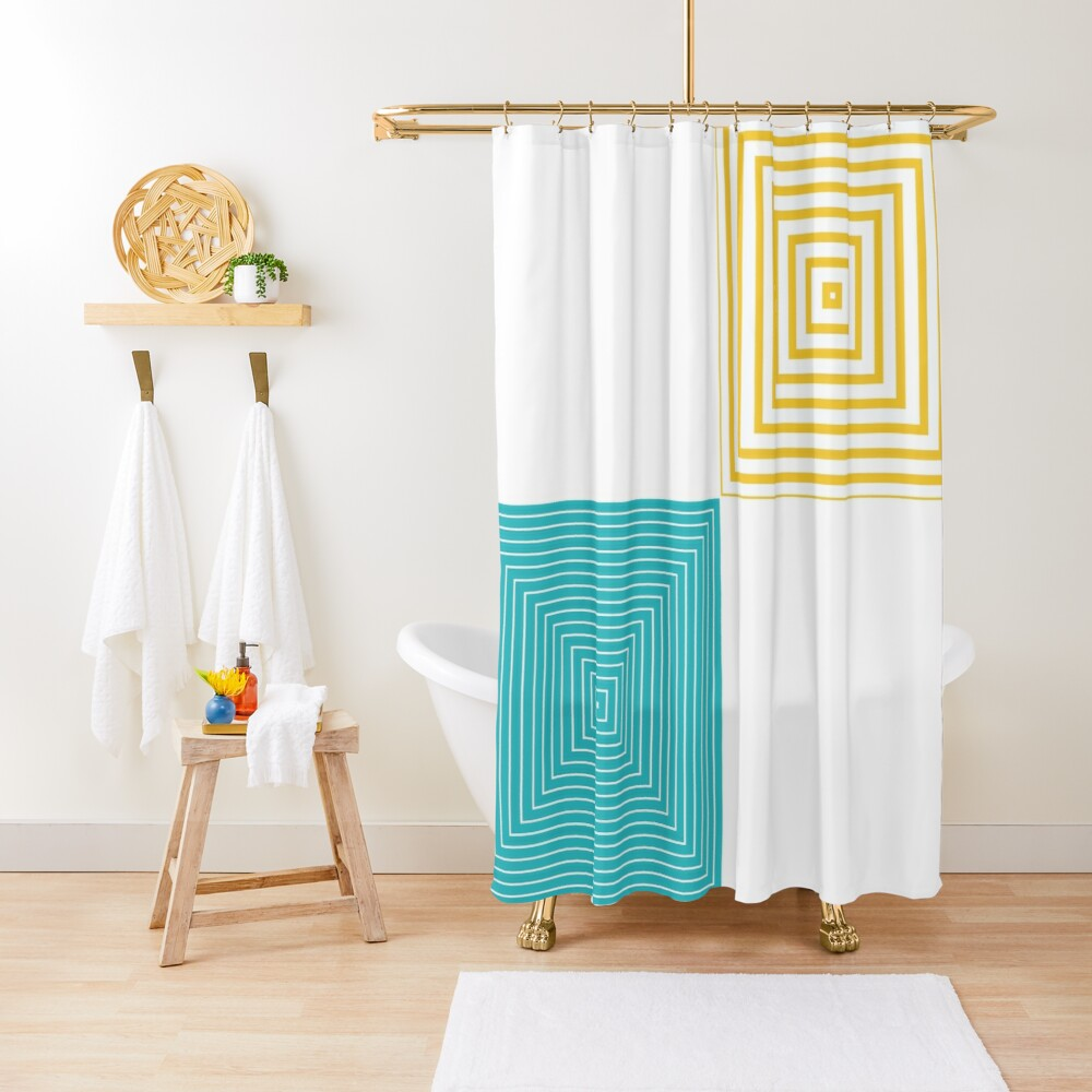 Colour Pop Squares - Turquoise and Yellow Shower Curtain