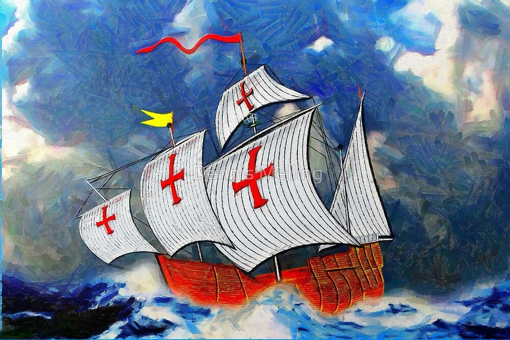A digital painting of Christopher Columbus' Ship 'Santa Maria' 1492 by Dennis Melling