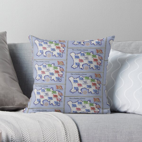 The 12 Parishes of Jersey Throw Pillow