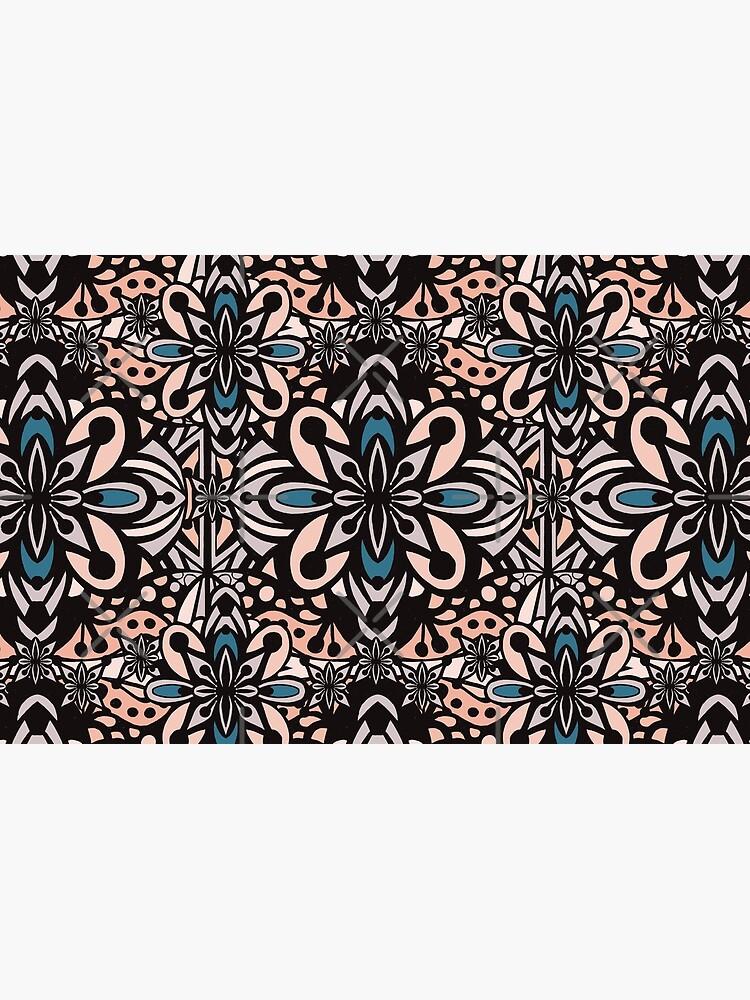 Retro Abstract Flower Pattern Mandala Tile - Vintage Summer Color Palette by sketchbookjo