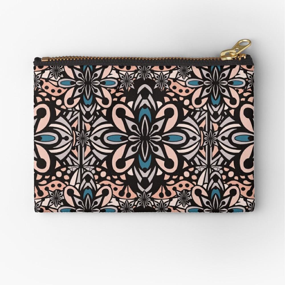 Retro Abstract Flower Pattern Mandala Tile - Vintage Summer Color Palette Zipper Pouch