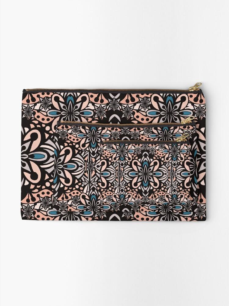 Alternate view of Retro Abstract Flower Pattern Mandala Tile - Vintage Summer Color Palette Zipper Pouch
