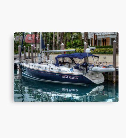 Boat docked at Marina Village in Paradise Island, The Bahamas Canvas Print