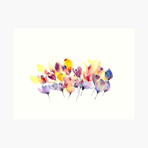 Wild Flowers - Yellow and Purple Art Print
