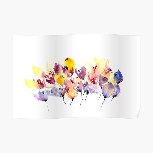 Wild Flowers - Yellow and Purple Poster