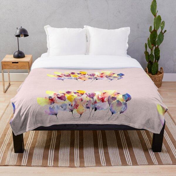 Wild Flowers - Yellow and Purple Throw Blanket