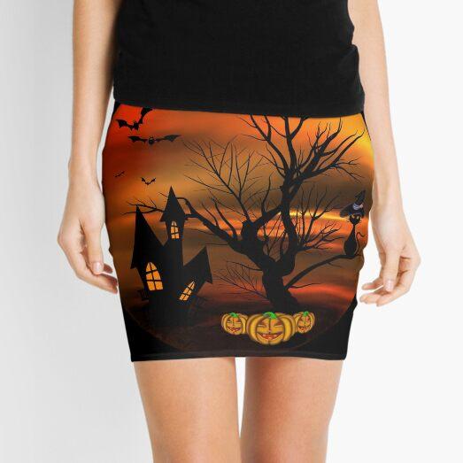 Halloween Katze mit Zauberhut in einem blattlosen Baum, leuchtende Kürbisse, Fledermäuse und eine alte Villa Minirock