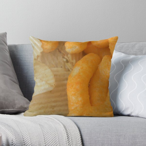 Crunchy Snack Time - Cheese Curls and Potato Chips Throw Pillow