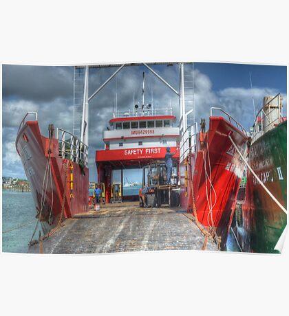 Cargo Boats at Potter's Cay - Nassau, The Bahamas Poster