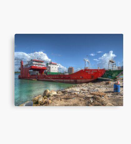 Cargo Boat at Potter's Cay - Nassau, The Bahamas Canvas Print