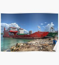 Cargo Boat at Potter's Cay - Nassau, The Bahamas Poster