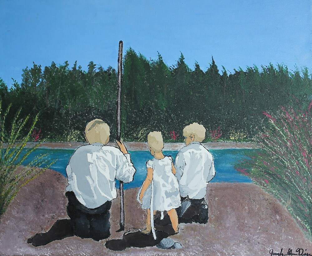 Kids by river by JennyLynnDiesen