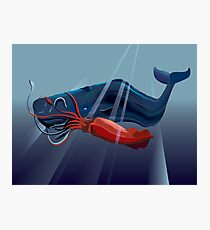 Giant Squid and Sperm Whale Photographic Print
