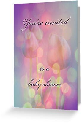 Baby Shower Invitation - Bokeh Tulips by MotherNature