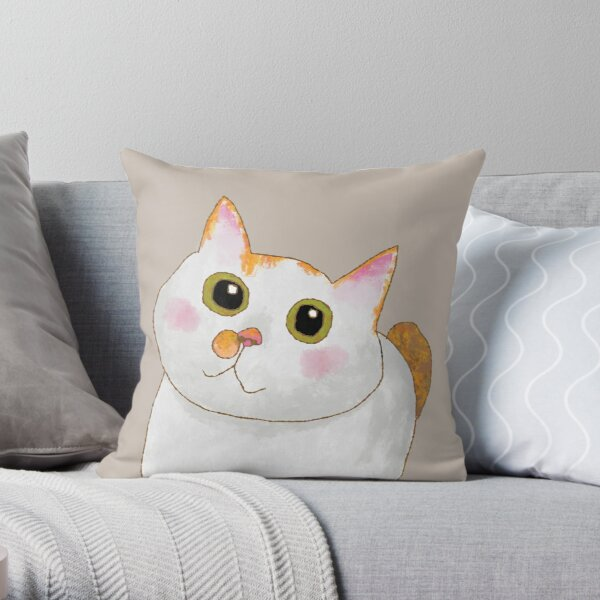 Fat Cat Tommy - Digital Painting Throw Pillow