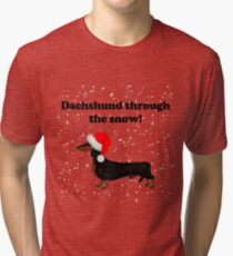 Dachshund Through the Snow Tri-blend T-Shirt