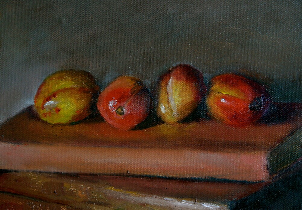 four plums on a sketch book by Jeremy Wallace