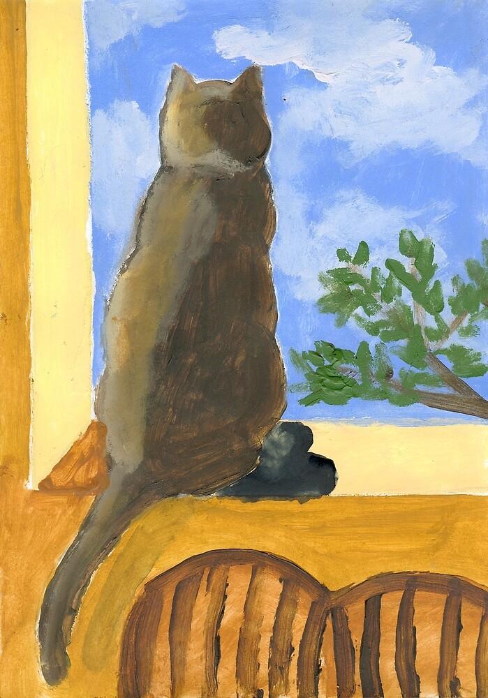 Cat in the Window by Roza Ganser
