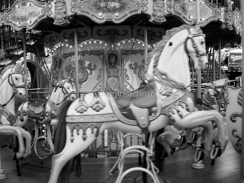 Carousel horses B&W by LoveAphoto
