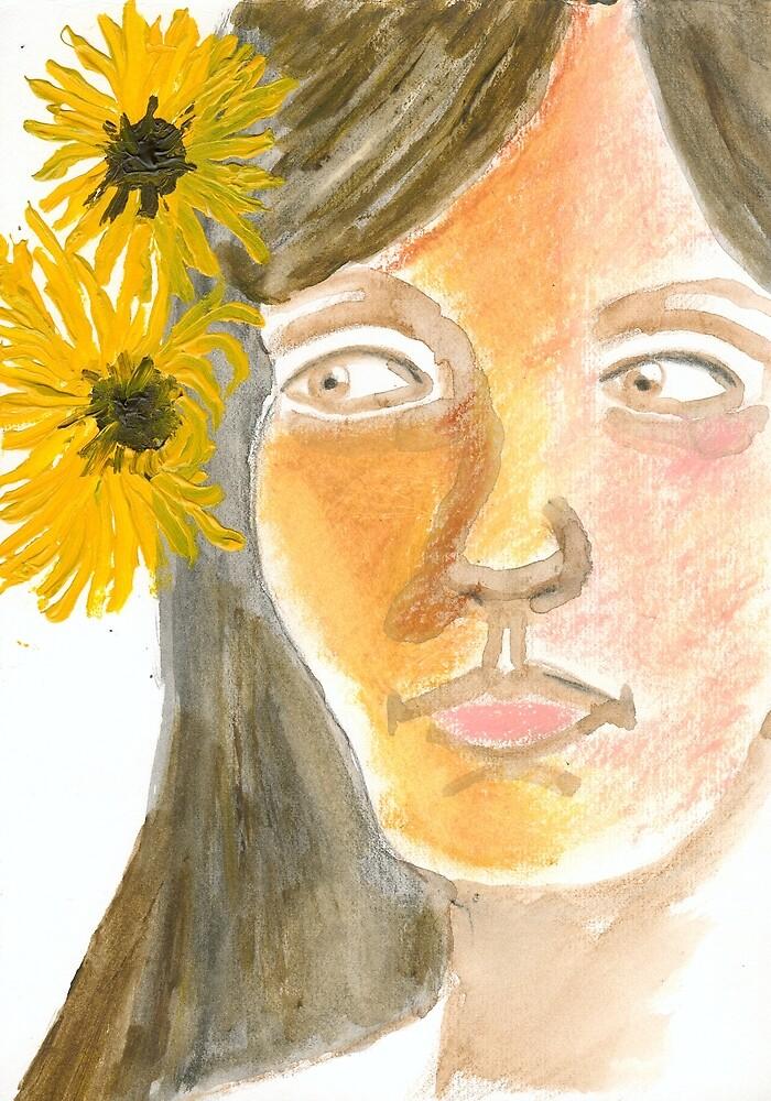 Susan Loves her Sunflowers by Roza Ganser