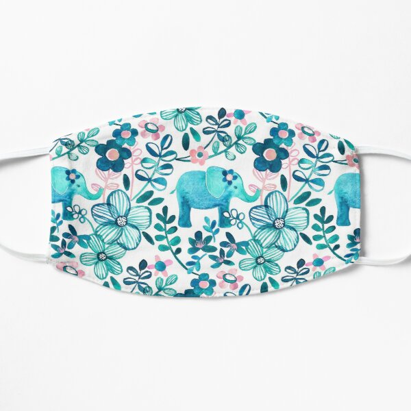 Dusty Pink, White and Teal Elephant and Floral Watercolor Pattern Mask