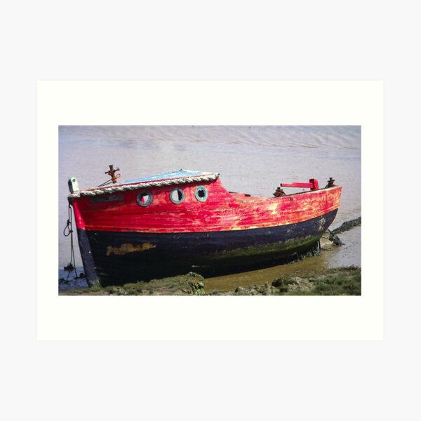 Ancient Red Boat Art Print
