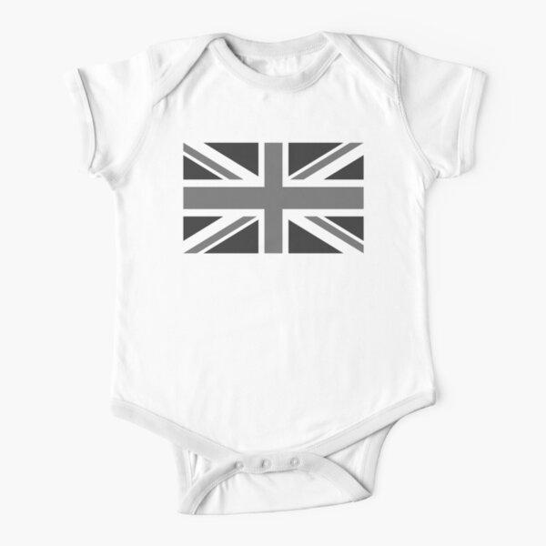 UNION JACK. GREY, BRITISH, FLAG, UK, GB, UNITED KINGDOM, LANDSCAPE. Short Sleeve Baby One-Piece
