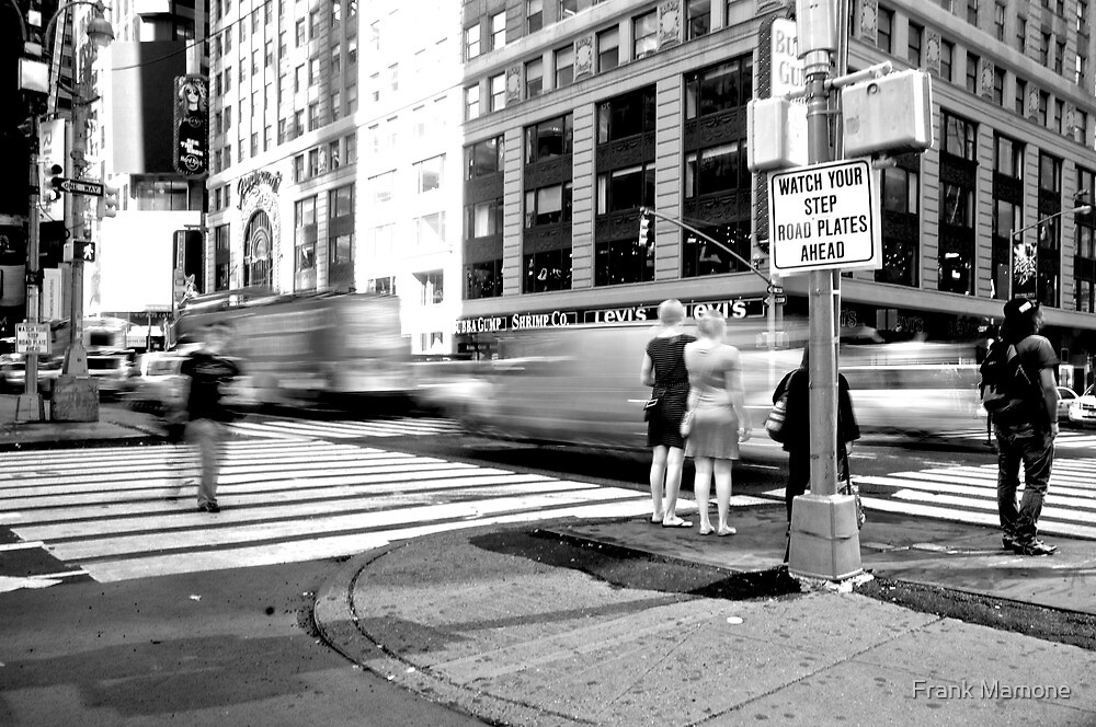 Time Square - Rush BW by Frank Mamone