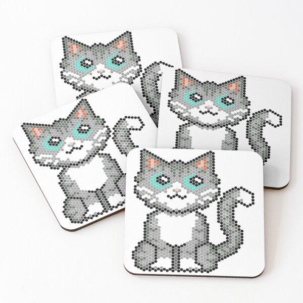 Cat pixel Coasters (Set of 4)