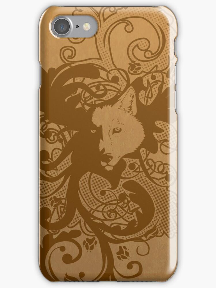 Wolf Floral in Brown by Zhivago