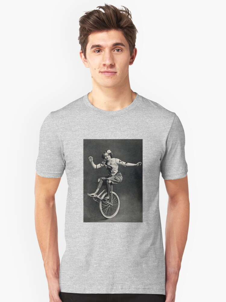 vintage photograph woman on a unicycle Unisex T-Shirt Front