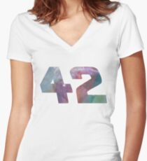 The answer to life, the universe and everything. Women's Fitted V-Neck T-Shirt