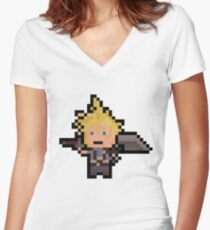 Pixel Cloud Women's Fitted V-Neck T-Shirt