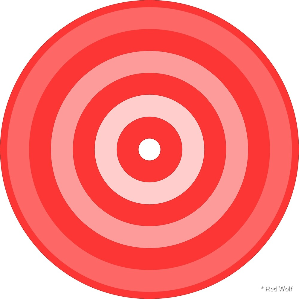Geometric Pattern: Rondel: White Gradient Red by * Red Wolf