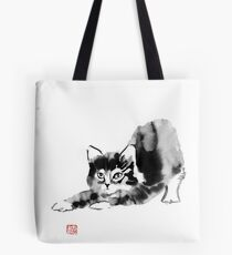 stretching cat Tote Bag