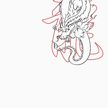 Lineart Tribal Dragon by fdb88