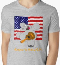 Hippo Rockin in the USA Mens V-Neck T-Shirt
