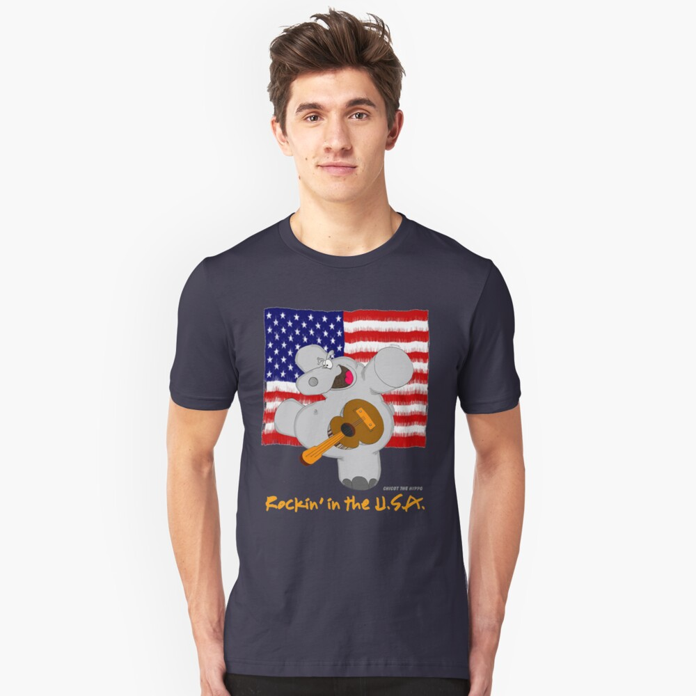 Hippo Rockin in the USA Unisex T-Shirt Front