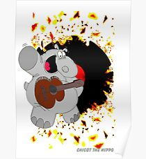 Hippo Exploding Record Poster