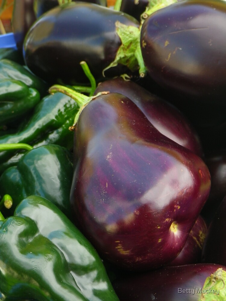 Eggplants and Peppers by Betty Mackey