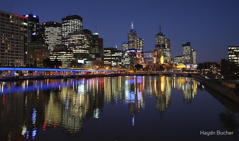 Melbourne City beautiful night lights by Haydn Bucher
