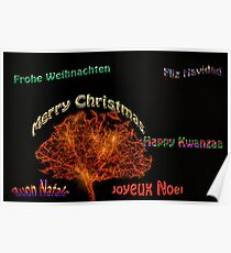 Merry Christmas in six different languages Poster