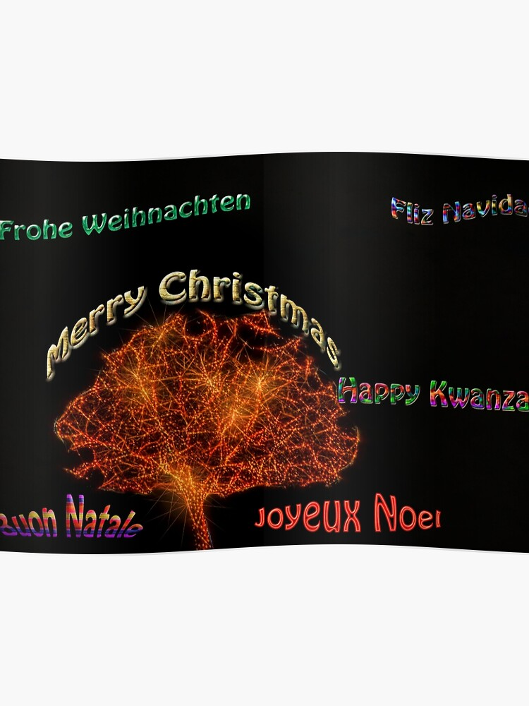 Merry Christmas Different Languages.Merry Christmas In Six Different Languages Poster