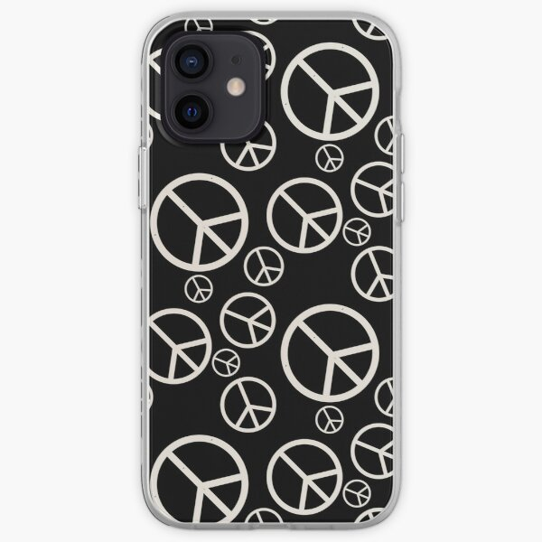 Black and White Peace Sign Symbols iPhone Soft Case