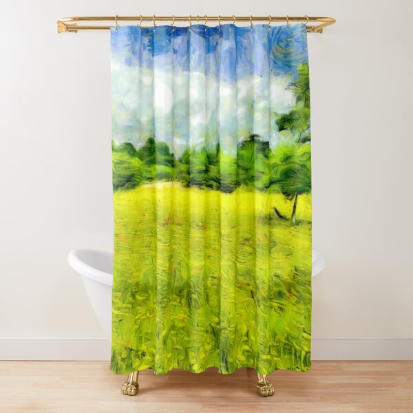 Yellow Flower Meadow Shower Curtain