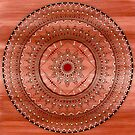Intricate Hand Drawn Brown And Red Mandala by Zedart