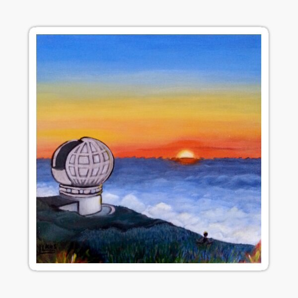 Puesta de sol telescopio Pegatina